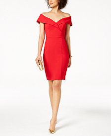 XSCAPE Petite Off-The-Shoulder Sweetheart-Neck Dress