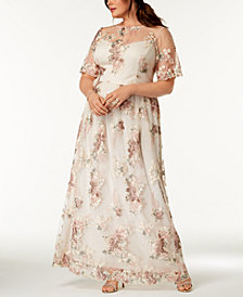Adrianna Papell Plus Size Embroidered Illusion Dress