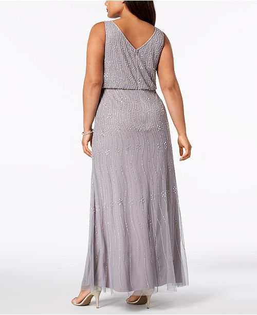 17949c307d7 Adrianna Papell Plus Size Beaded Blouson Gown   Reviews - Dresses ...