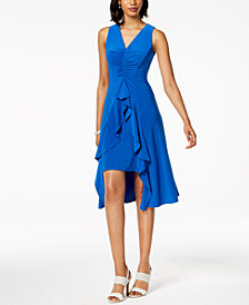Taylor Ruched & Ruffled Flyaway Dress