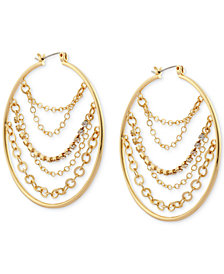 GUESS Gold-Tone Multi-Chain Hoop Earrings