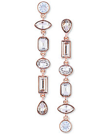 GUESS Rose Gold-Tone Crystal Mismatch Linear Drop Earrings