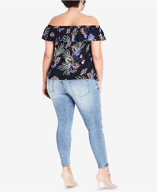 Top The Off Plus Trendy Printed Size Exotic Shoulder Ruffled Chic Garden City 7XaYAzqUw