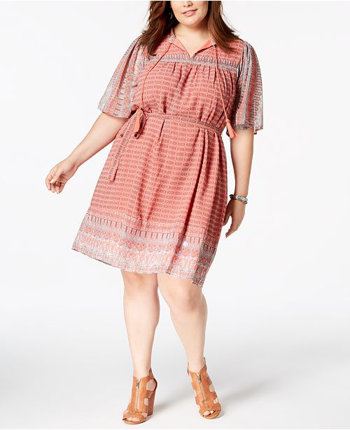 Lucky Brand Trendy Plus Size Printed Belted Peasant Dress Dresses