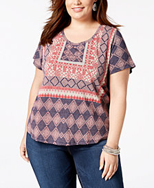 Lucky Brand Trendy Plus Size Cotton Printed T-Shirt