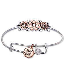 Unwritten Two-Tone Flower Bangle Bracelet in Rose Gold-Tone & Stainless Steel