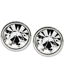 Sutton by Rhona Sutton Men's Stainless Steel Round Stone Stud Earrings