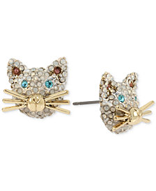 Betsey Johnson Gold-Tone Pavé Cat Face Stud Earrings