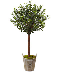 Nearly Natural 4.5' Olive Topiary Artificial Tree in European Barrel Planter