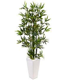 Nearly Natural 4.5' Bamboo Artificial Tree in White Tower Planter