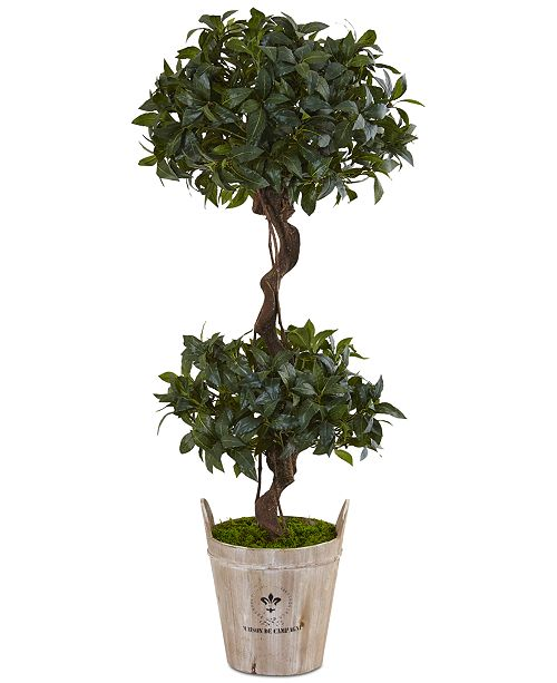 Nearly Natural 4.5' Sweet Bay Double Topiary Artificial Tree in Farmhouse Planter