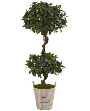 Nearly Natural 45 Sweet Bay Double Topiary Artificial Tree in Farmhouse Planter