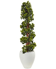 4' English Ivy Topiary UV-Resistant Indoor/Outdoor Artificial Tree in White Oval Planter