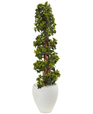 Nearly Natural 4 English Ivy Topiary UvResistant IndoorOutdoor Artificial Tree in White Oval Planter