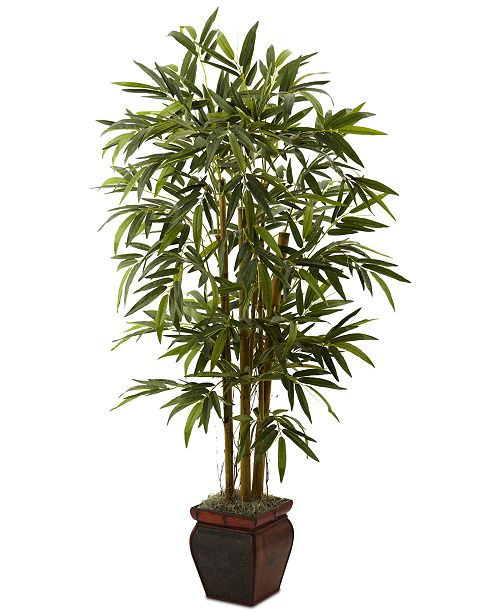 Nearly Natural 5.5' Artificial Bamboo Tree in Decorative Planter