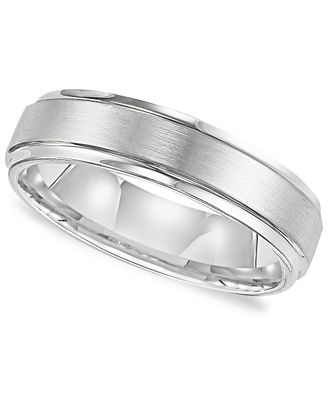 Triton Mens White Tungsten Carbide Ring Comfort Fit Wedding Band