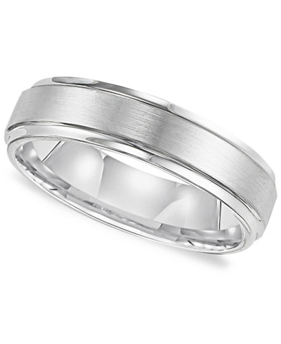 triton mens white tungsten carbide ring comfort fit wedding band 6mm - Macy Wedding Rings