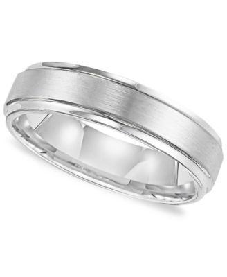 Triton Menu0027s White Tungsten Carbide Ring, Comfort Fit Wedding Band (6mm)
