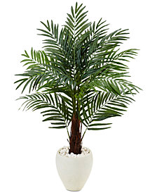 Nearly Natural 4.5' Areca Palm Artificial Tree in White Oval Planter