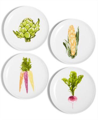 CLOSEOUT! Farmhouse Veggie Appetizer Plates, Set of 4