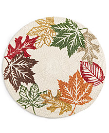 "Elrene Leaf Wreath Braided 15"" Round Placemat"