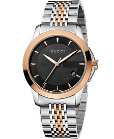 Gucci Unisex Swiss G-Timeless Rose Gold-Tone and Stainless Steel Bracelet Watch 38mm YA126410