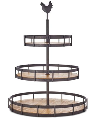 CLOSEOUT! Farmhouse Wood and Wire 3-Tier Server, Created for Macy's