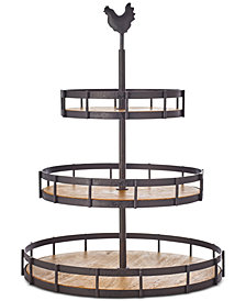 Martha Stewart Collection Farmhouse Wood and Wire 3-Tier Server, Created for Macy's