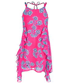 Sequin Hearts Big Girls Floral-Print Ruffle-Trim Dress