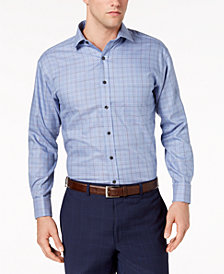 Tasso Elba Men's Classic/Regular Fit Non-Iron Medium Twill Plaid French Cuff Dress Shirt, Created for Macy's