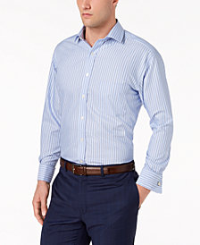 Tasso Elba Men's Classic/Regular Fit Non-Iron Large Stripe Dress Shirt, Created for Macy's