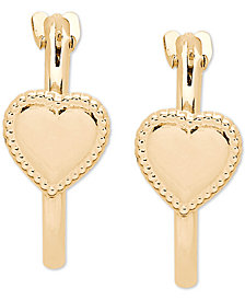 Heart Hoop Earrings in 14k Gold