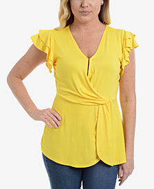 NY Collection Petite Flutter-Sleeve Flounce Top