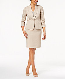 Le Suit Shawl-Collar Skirt Suit, Regular & Petite