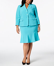 Le Suit Plus Size Three-Button Flared Skirt Suit