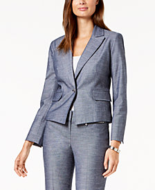 Nine West One-Button Denim Blazer