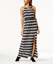 BCX Juniors' Striped Side-Slit Maxi Dress
