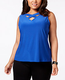 Nine West Plus Size Crisscross-Front Shell
