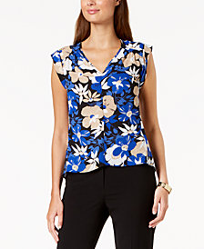 Nine West Printed Cap-Sleeve Blouse