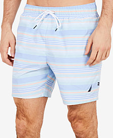 "Nautica Men's Big & Tall Quick-Dry Stripe 6"" Swim Trunks"