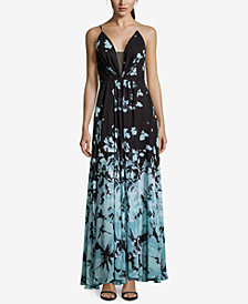 Betsy & Adam Placed-Floral Chiffon Maxi Gown