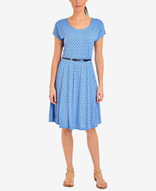 NY Collection Petite A-Line Polka Dot Dress