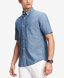 Tommy Hilfiger Men's Chambray Mini Dot Shirt, Created for Macy's