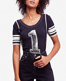 Free People First Place Cotton Crochet-Trim T-Shirt