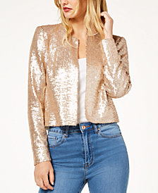 Zoe by Rachel Zoe Sequined Collarless Jacket, Created For Macy's