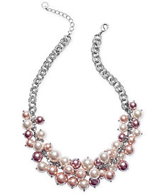 "Charter Club Silver-Tone Ombré Imitation Pearl Statement Necklace, 17"" + 2"" extender, Created for Macy's"