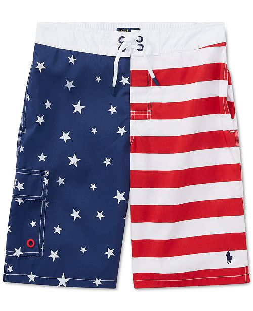 576caf2591 Polo Ralph Lauren Big Boys Kailua Flag Swim Trunks & Reviews ...