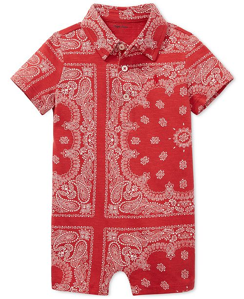 b558e502347 ... Polo Ralph Lauren Baby Boys Bandana-Print Cotton Romper ...