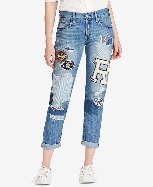 Cotton Polo Jeans Slim Patchwork Ralph Astor Lauren Boyfriend eD2WHIE9Y