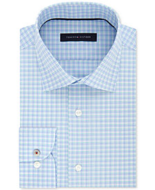 Tommy Hilfiger Men's Slim-Fit Non-Iron Performance Stretch Blue Check Dress Shirt, Created for Macy's